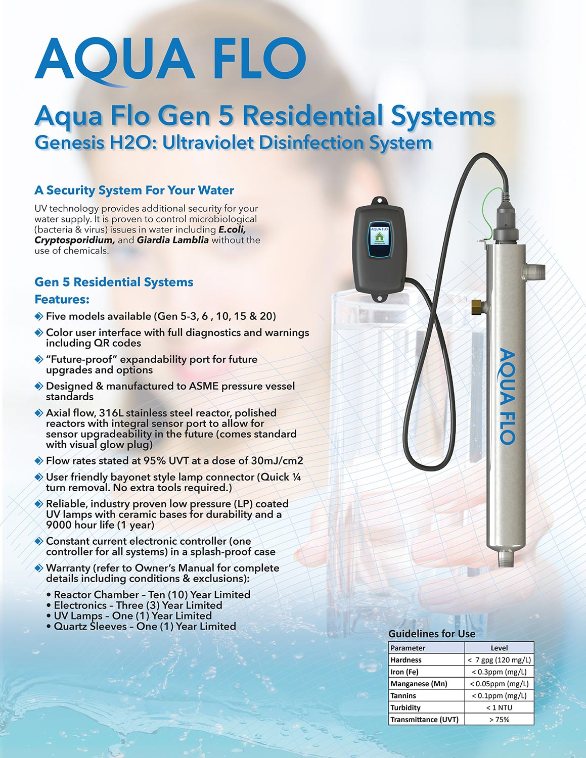brochure Aqua Flo ultraviolet disinfection system