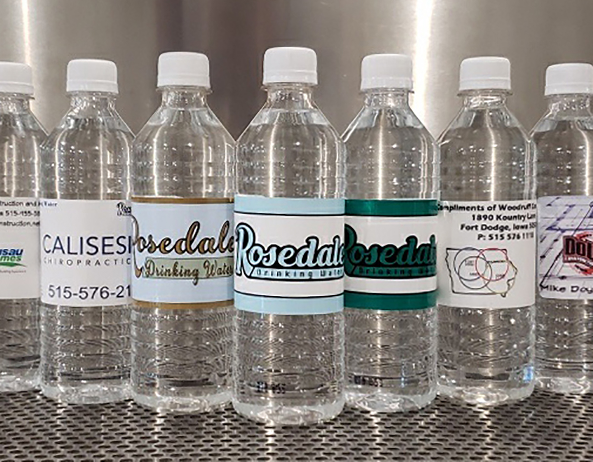 Image of several custom label water bottles